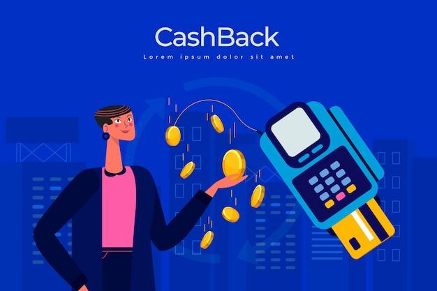 Concepto de devolución de dinero con monedas e ilustración