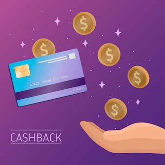 Concepto de devolución de dinero con monedas y tarjeta de crédito