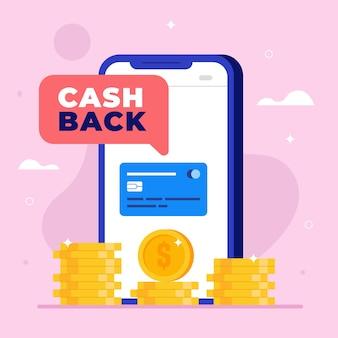 Concepto de devolución de dinero con monedas y teléfono inteligente