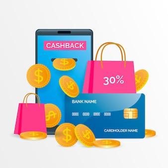 Concepto de devolución de dinero con ofertas