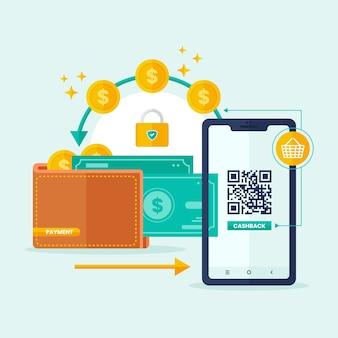 Concepto de devolución de dinero con teléfono inteligente y dinero
