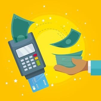 Concepto de devolución de efectivo para compras