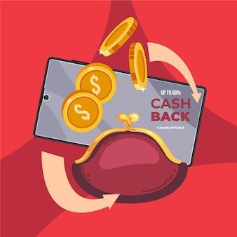 Concepto de devolución de efectivo con tarjeta de crédito y cartera