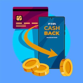 Concepto de devolución de efectivo con tarjeta de crédito y teléfono móvil