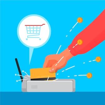 Concepto de devolución de efectivo con tarjeta de crédito