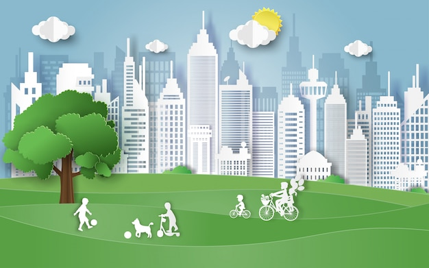 Concepto del día del ambiente con la familia en el parque.