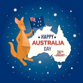 Concepto del día de australia con canguro