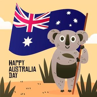 Concepto de día de australia de diseño plano