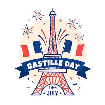 Concepto de día de bastille dibujado a mano