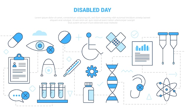 Concepto de día para discapacitados con banner de plantilla de conjunto de iconos con estilo moderno de color azul