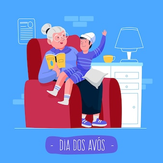 Concepto de dia dos avós dibujado a mano