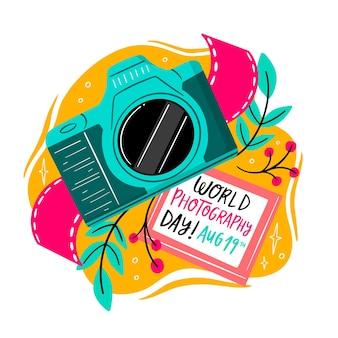 Concepto de día de fotografía mundial dibujado a mano