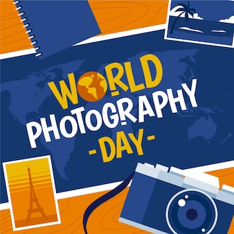 Concepto de día de fotografía mundial de diseño plano