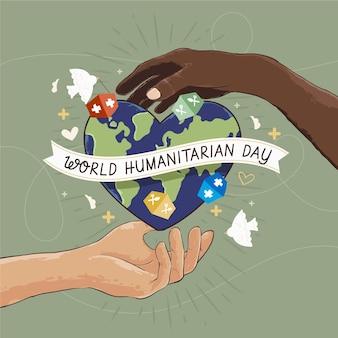 Concepto de día humanitario mundial dibujado a mano