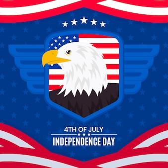 Concepto de día de independencia de estados unidos de diseño plano