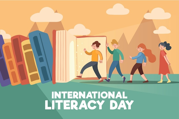 Concepto de día internacional de alfabetización dibujado a mano