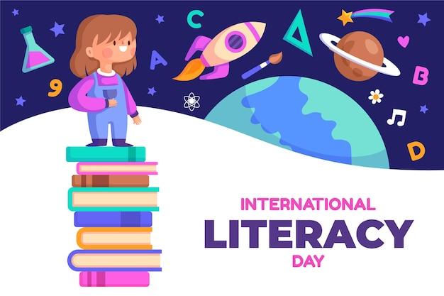 Concepto de día internacional de alfabetización de diseño plano
