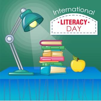 Concepto del día internacional de la alfabetización, estilo de dibujos animados