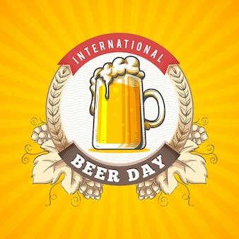 Concepto de día internacional de la cerveza dibujado a mano