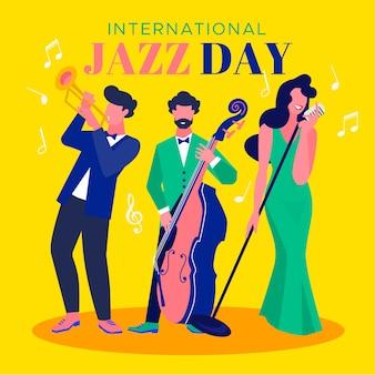 Concepto de día internacional del jazz de diseño plano
