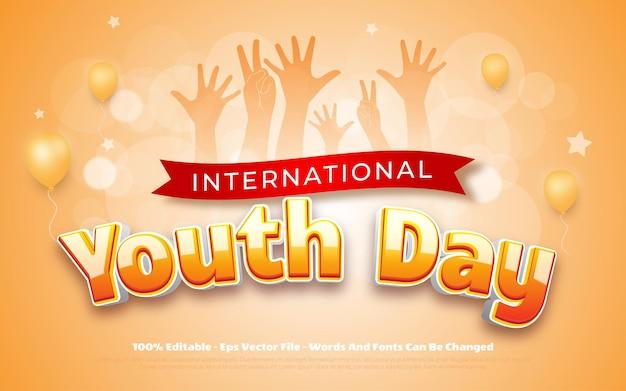 Concepto del día internacional de la juventud tipografía editable del día de la juventud