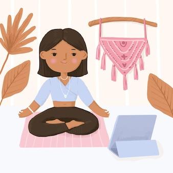 Concepto del día internacional del yoga en casa
