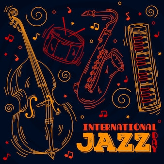 Concepto de día de jazz internacional dibujado a mano