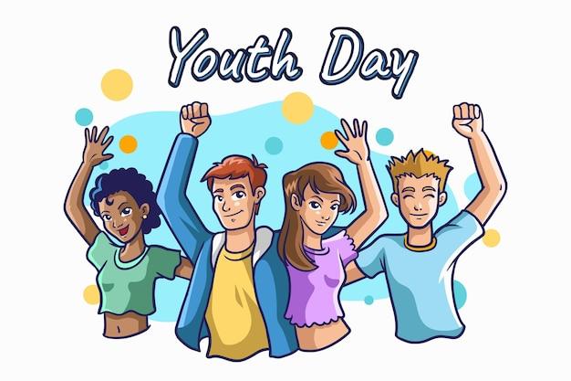 Concepto de día de la juventud dibujada a mano