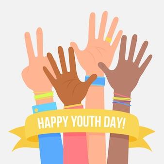 Concepto de día de la juventud en diseño plano