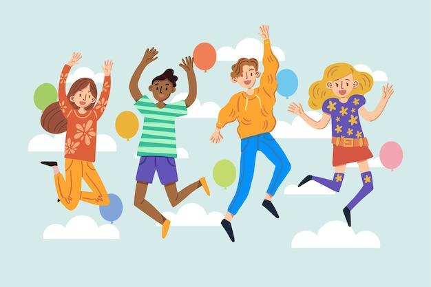 Concepto de día de la juventud con personas saltando