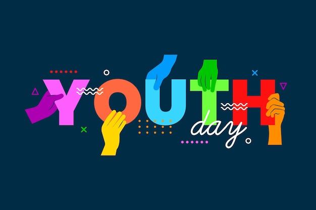 Concepto de día de la juventud de siluetas