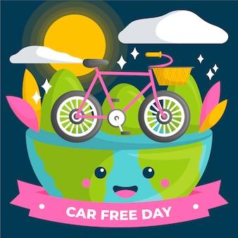 Concepto de día libre del coche mundial dibujado a mano