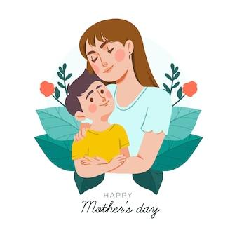 Concepto de día de la madre dibujado a mano