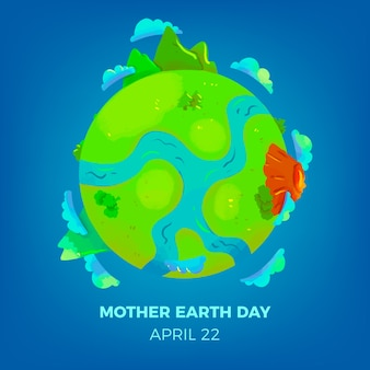 Concepto de día de la madre tierra acuarela