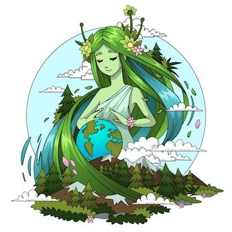 Concepto de día de la madre tierra dibujado a mano