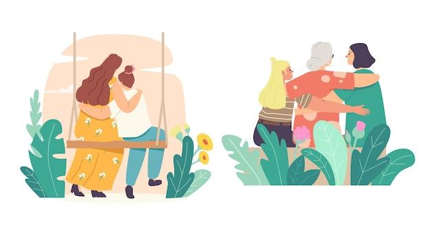 Concepto de día de las madres. amorosa madre, abuela, hija y nieta abrazando la vista trasera. mamá y niña abrazan sentados en columpio. personajes femeninos de la familia. ilustración de vector de gente de dibujos animados