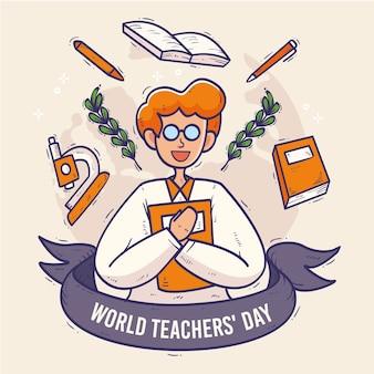 Concepto del día del maestro dibujado a mano