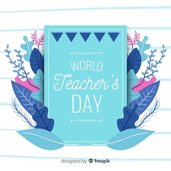 Concepto del día del maestro con fondo de diseño plano