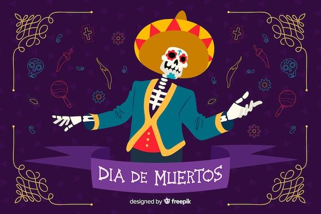 Concepto de día de muertos con fondo dibujado a mano