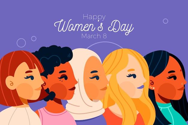 Concepto de día de la mujer en diseño plano