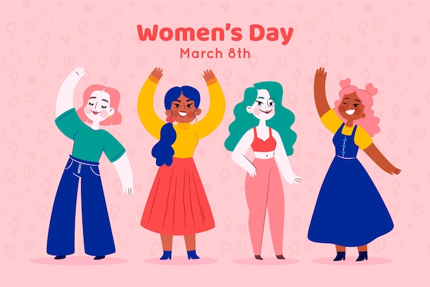 Concepto de día para mujer de diseño plano