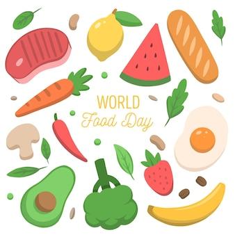 Concepto de día mundial de la alimentación dibujado a mano