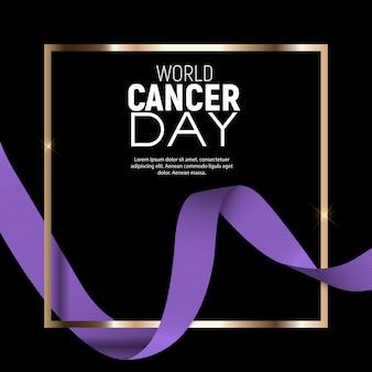 Concepto del día mundial del cáncer con cinta de lavanda.