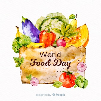 Concepto del día mundial de la comida con fondo de acuarela