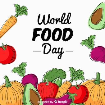 Concepto del día mundial de la comida con fondo dibujado a mano