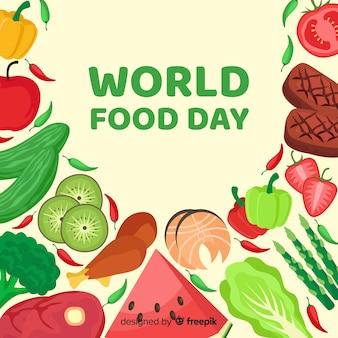 Concepto del día mundial de la comida con fondo de diseño plano