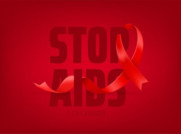 Concepto de día mundial de concientización sobre el sida. detener el sida