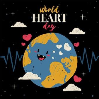 Concepto del día mundial del corazón dibujado a mano