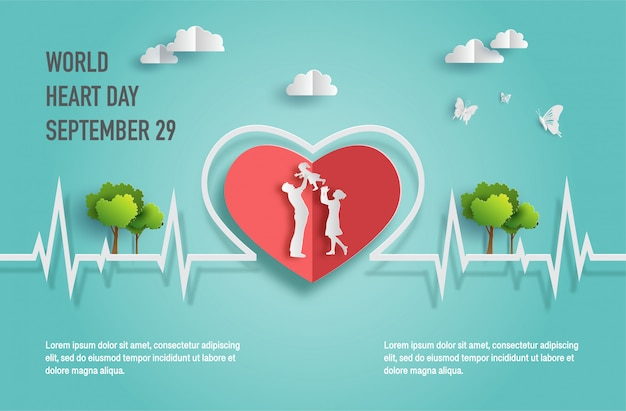 Concepto del día mundial del corazón, familia feliz con línea de latidos.