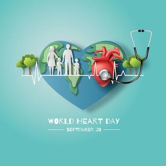 Concepto del día mundial del corazón una familia tomados de la mano de pie en la línea de los latidos del corazón junto con la tierra y el corazón